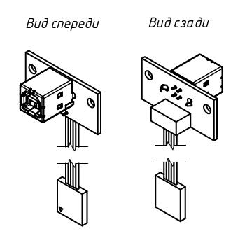 Гнездо USB типа B на панель или корпус